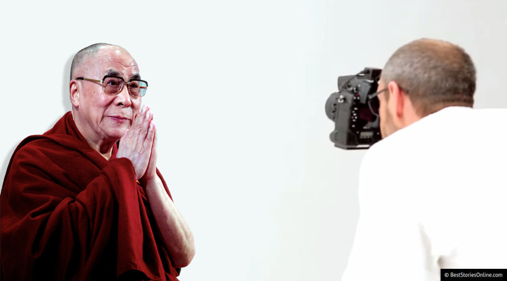The Dalai Lama posing during his photoshoot with Terry Richardson.