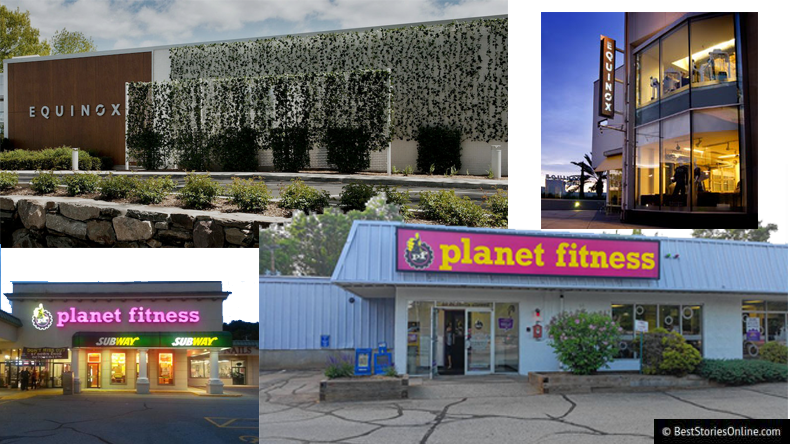 Ultra lux Equinox locations in Greenwich, Connecticut and Beverly Hills, California (top left, right); Planet Fitness locations in reclaimed stripmall space in Boise, Idaho and Buffalo, New York. (bottom left, right)