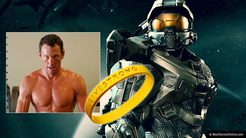 Pictured: Halo's 'Master Chief', a LiveStrong bracelet, and Lance Armstrong.