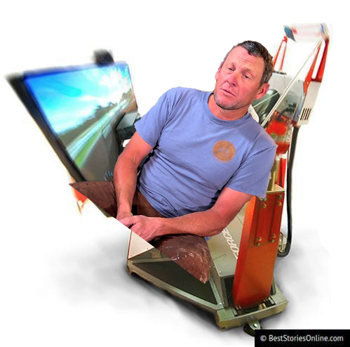 Pictured: Artist's rendering of what Lance Armstrong may have looked like the evening of the alleged incident, seen here in state-of-the-art gaming chair.