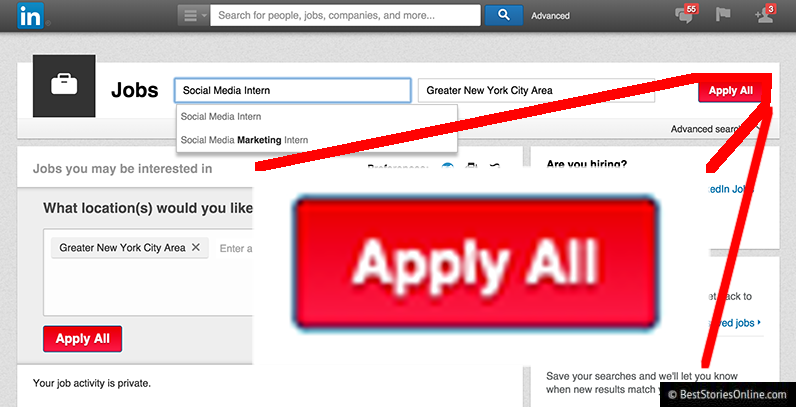 New Apply All feature on www.linkedin.com.