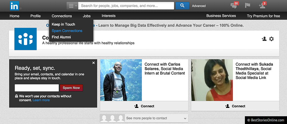 Front end web developer's rendering of LinkedIn's contact page.
