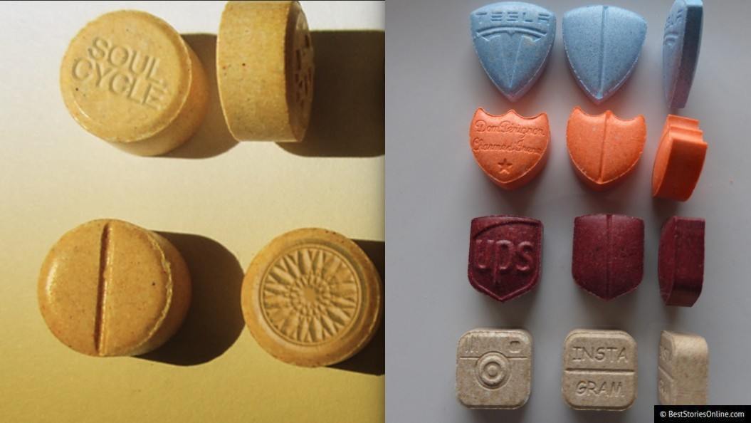 'Branded MDMA' with SoulCycle, Instagram, UPS, Tesla, and Dom Perignon logos.