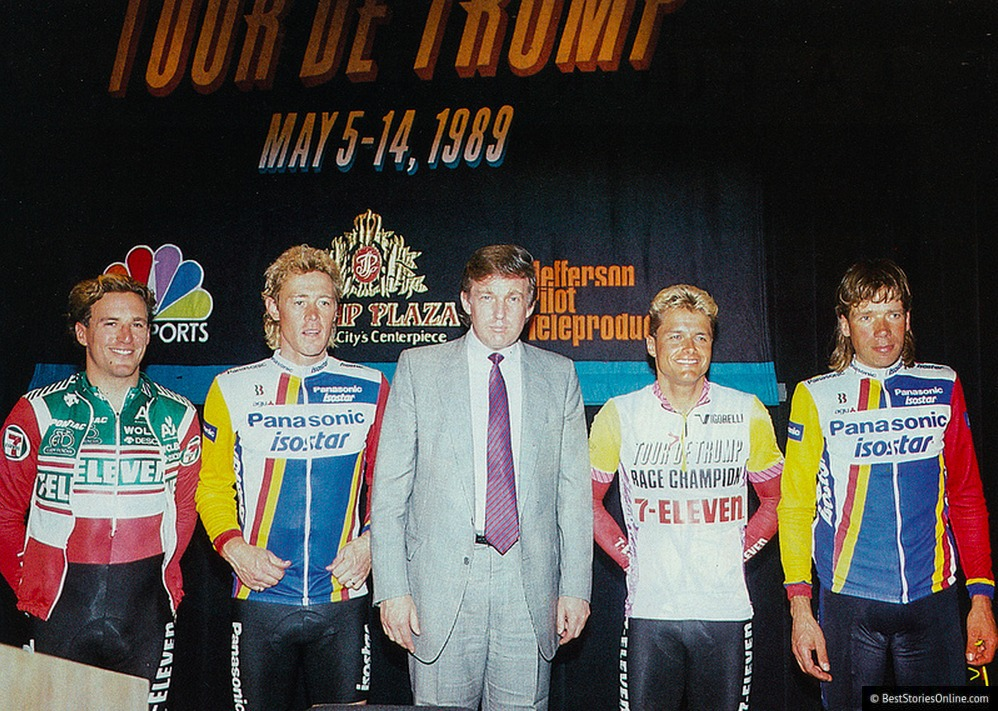 "Pictured: Donald Trump at the ""Tour DuPont"" Awards ceremony."
