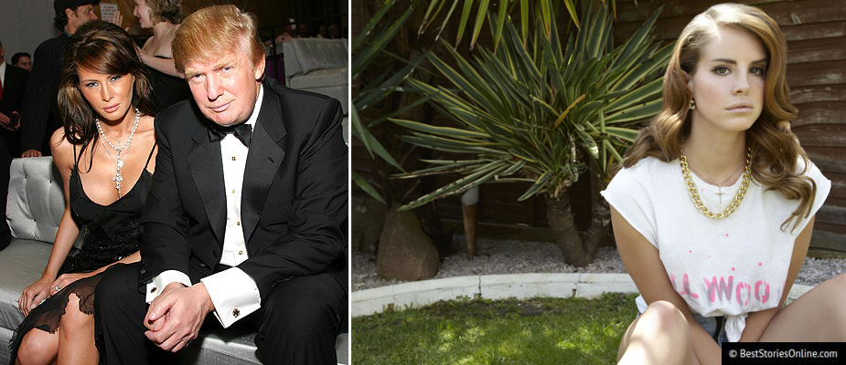 Pictured: Donald Trump (left panel, left) and his wife Melania (left panel, right) and Lana Del Rey (right panel).
