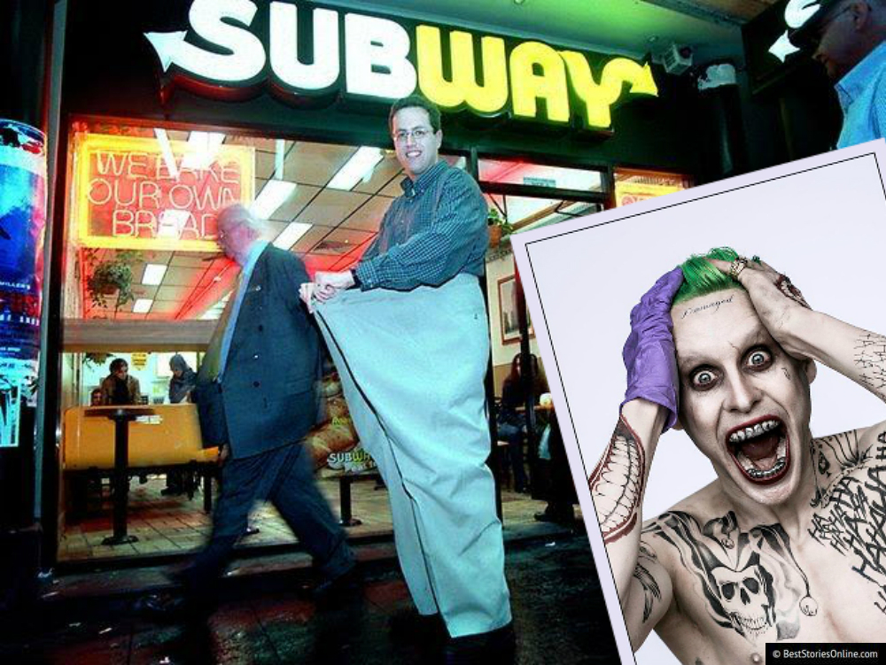 "Pictured: Jared Fogle with his famous pants, and Jared Leto as ""The Joker"" from Marvel's ""Batman""."