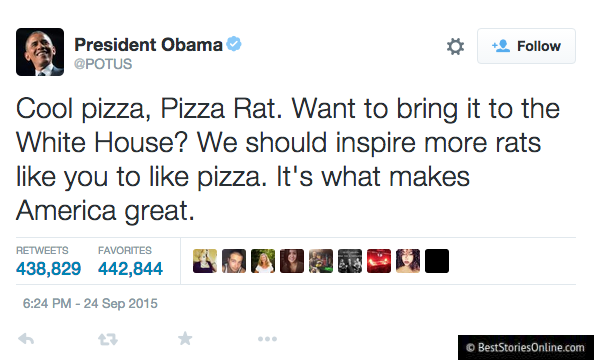 Obama's tweet to the Pizza Rat.