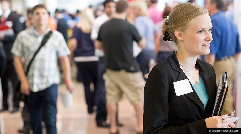 A Young Millennial woman at a Georgia Institute of Technology career fair.